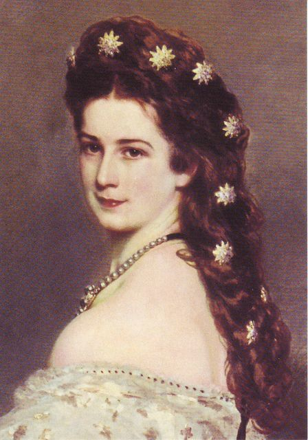 Empress Sissi of Austria with her stars in her hair (detail)