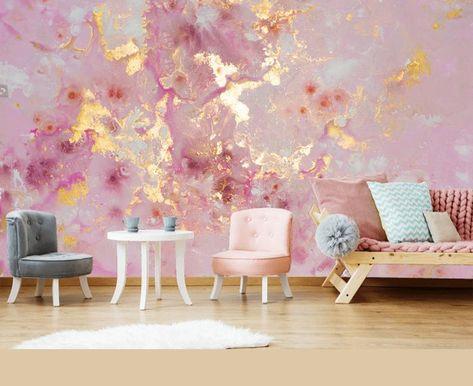 Custom Order Pink Purple Gold Marble Wallpaper Wall | Etsy
