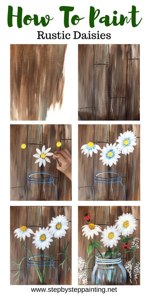Flower Painting Discover How To Paint Daisies In A Jar This beginner acrylic canvas painting tutorial will show you how to paint a daisies in a jar step by step. Learn with picture directions and video. Simple Canvas Paintings, Easy Canvas Art, Small Canvas Art, Easy Canvas Painting, Acrylic Canvas, Painting Art, Diy Canvas, How To Paint Canvas, Easy Acrylic Paintings