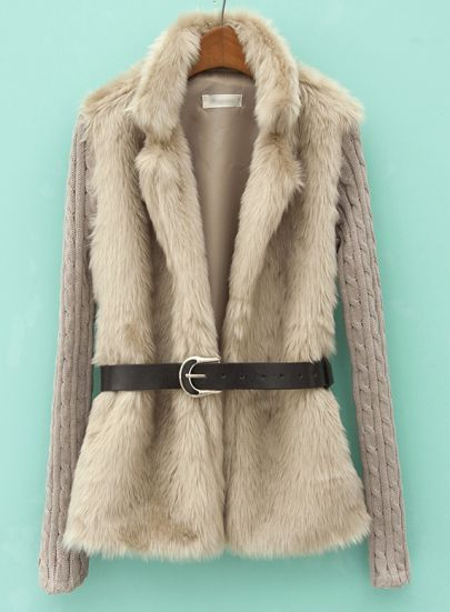 Khaki Contrast Knit Long Sleeve Faux Fur Coat pictures