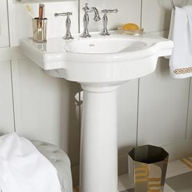 American Standard Retrospect 36 In H White Fire Clay Pedestal Sink