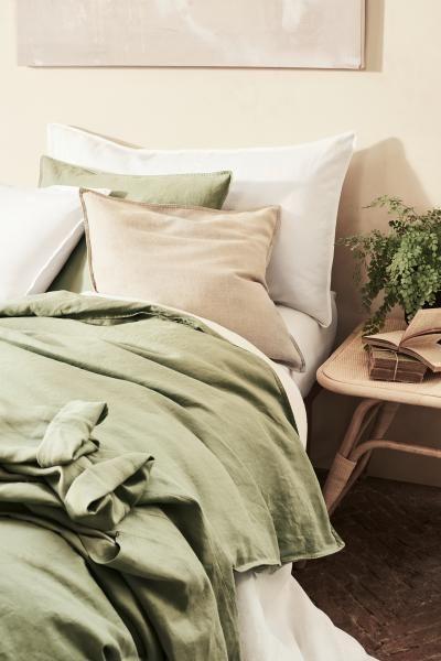H M Washed Linen Duvet Cover Set Green Duvet Cover Sets Washed Linen Duvet Cover Linen Duvet Covers