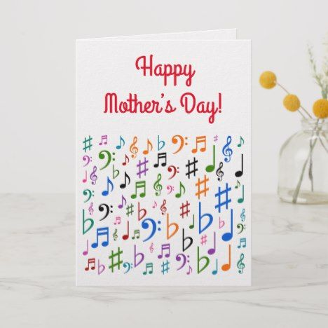 Happy Mother S Day Colorful Music Symbols Card Zazzle Com In 2020 Happy Mother S Day Happy Mothers Mothersday Cards