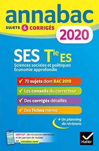 Telecharger Annales Annabac 2020 Ses Tle Es Specifique Ebook Math About Me Math