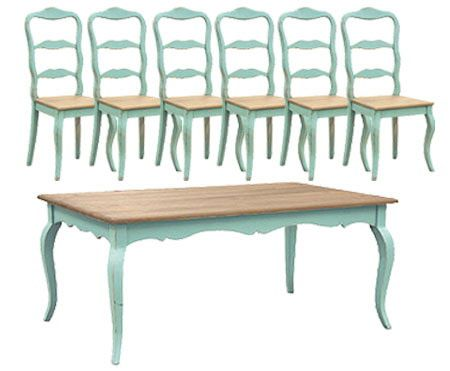 French Country Dining, Turquoise French Dining Table Set (1 Table 6 Chairs)  | French Dining Tables, Turquoise And Country