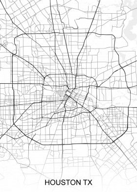 Houston Tx Usa Street Map North America Street Maps Road Map