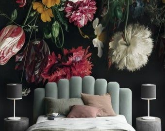 Retro Dutch Victorian Oil Paitning Colorful Rose Wall Murals Embossed Rose Green Leaves Floral Wallpaper Living Or Dinning Room Wall Paper Floral Wallpaper Floral Wall Pink Peonies Wallpaper