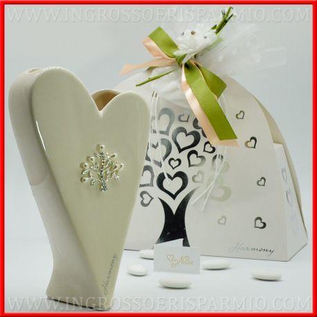 Bomboniere Matrimonio Napoli Prezzi.Vaso Porcellana Cuore Stilizzato Nozze Tema Albero Della Vita