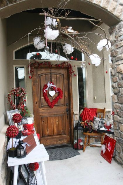 Top 75 Front Door Decorating Ideas For Christmas That Will Give Your Guests A Happy Hug And Warm Welcome Gravetics Valentines Outdoor Decorations Front Porch Christmas Decor Diy Valentines Decorations