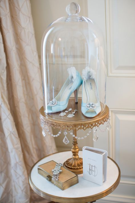 A Regal, Marie Antoinette Themed Wedding at the Cosmos Club in Washington, D. - Bridal Accessories Displayed in Glass Cloche Cinderella Sweet 16, Cinderella Birthday, Cinderella Wedding, Cinderella Room, Disney Sweet 16, Cinderella Slipper, Wedding Disney, Quince Decorations, Quinceanera Decorations