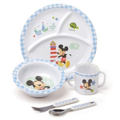 Spoon Fork Set Bowl Disney Baby Minnie or Mickey Mealtime 4pc Dinnerware Plate