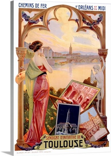 Toulouse Vintage Poster By Gaspar Camps Wall Art Canvas Prints Framed Prints Wall Peels In 2021 Vintage Travel Posters Vintage Posters Travel Posters