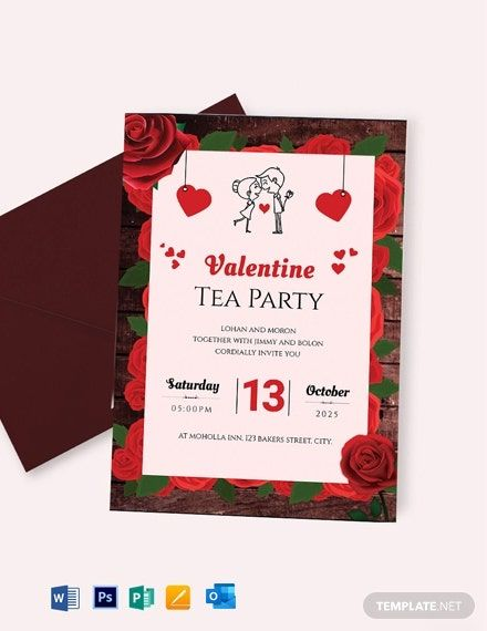 Valentine Tea Party Invitation Template Word Doc Psd Apple Mac Pages Publisher Tea Party Invitations Valentines Tea Party Party Invite Template