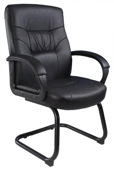 7500 Series Leather Guest Chair By Boss Sled Base B7519