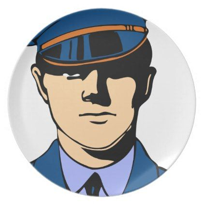 Officer In Uniform Melamine Plate - office decor custom cyo diy creative