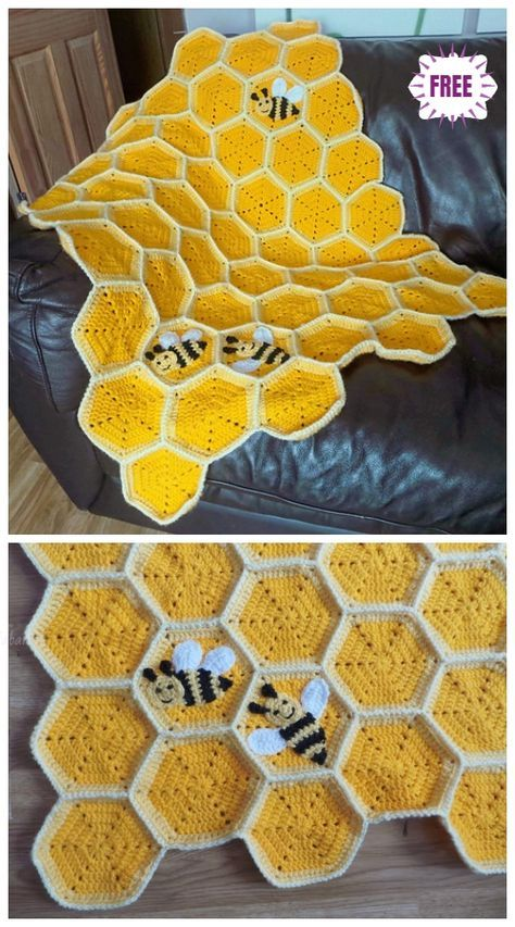 Crochet Honeycomb Baby Blanket Free Crochet Pattern Best Picture For crochet blanket patterns For Your Taste You are looking for something, and it is going. Crochet Bee, Crochet Crafts, Yarn Crafts, Crochet Stitches, Crotchet, Knitting Projects, Crochet Projects, Knitting Patterns, Free Baby Crochet Patterns