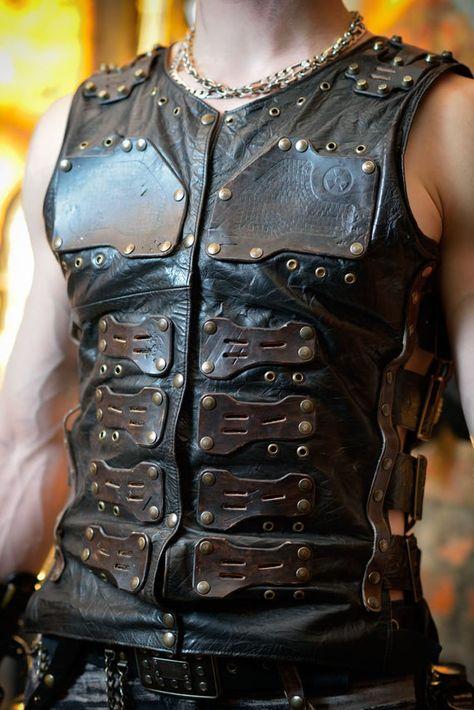 Post apocalyptic men's leather vest 'Apocalypse | Etsy