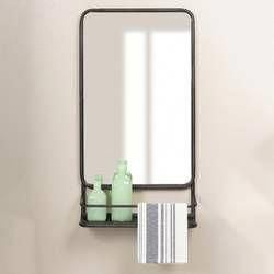 Lowman Modern Contemporary With Shelves Wall Mirror With Images Mirror With Shelf Wall Mounted Mirror