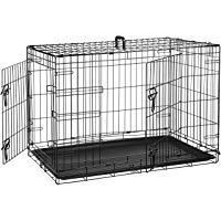 Amazonbasics Double Door Folding Metal Dog Crate Cage 36 X 23 X 25 Inches Amazonbasics Amazonbasics Double D In 2020 Dog Crate Metal Dog Kennel Pet Supplies