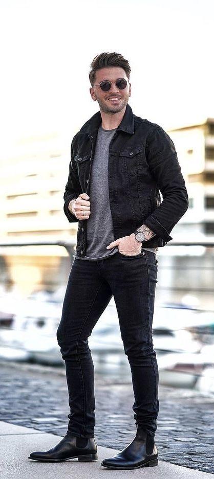 Alexsmiles1 Fall Combo With A Black Trucker Jacket Gray Shirt Watch Black Denim Sunglasse Black Denim Jacket Men Black Chelsea Boots Outfit Boots Outfit Men