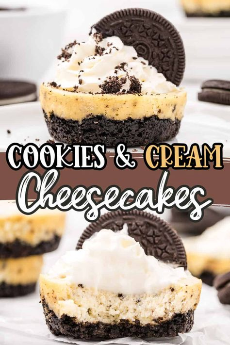 Our Mini Cookies and Cream Cheesecake Bites are made of a delicious crumbly chocolate Oreo cookie crust that's topped with creamy Oreo cheesecake and topped with whipped topping. These mini cheesecakes are the perfect single-serving dessert to cure any sweet tooth!
