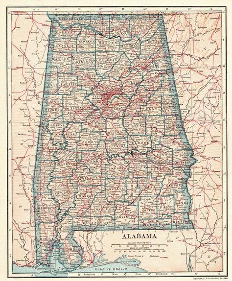1921 Antique ALABAMA Map of Alabama State Map Original ...