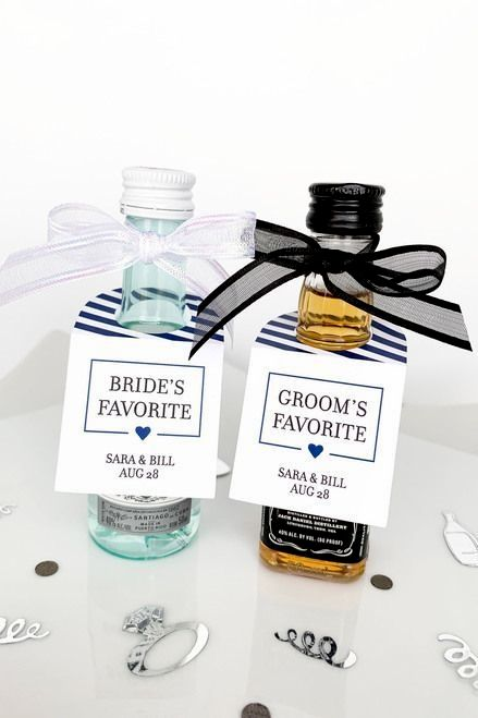 His And Her Favorites Minuscule Alcohol Mementos In 2020 My Wedding Favors Wedding Favor Tags Rustic Wedding Favors