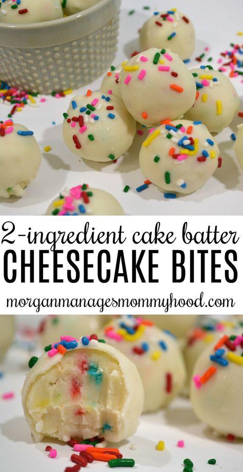 No Bake 2 Ingredient Cake Batter Cheesecake Bites - Morgan Manages Mommyhood . - No Bake 2 Ingredient Cake Batter Cheesecake Bites – Morgan Manages Mommyhood – # - Cake Batter Cheesecake, Cheesecake Recipes, Cake Batter Truffles, No Bake Truffles, Oreo Cheesecake Bites, Cake Batter Dip, Oreo Cookie Recipes, Oreo Truffles Recipe, Strawberry Cheesecake Bites