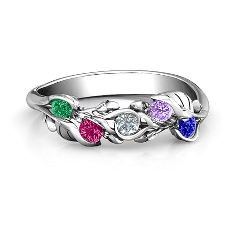 Sterling Silver Organic Leaf Five Stone Family Ring with Personalized Birthstones by JEWLR