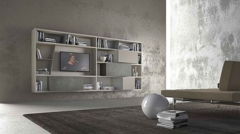 PRESOTTO CrossART wall unit with beige seta matt lacquered - bucherregal systeme presotto highlight wohnraum