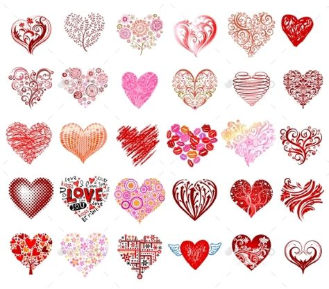 Set of 30 vector hearts, different styles.