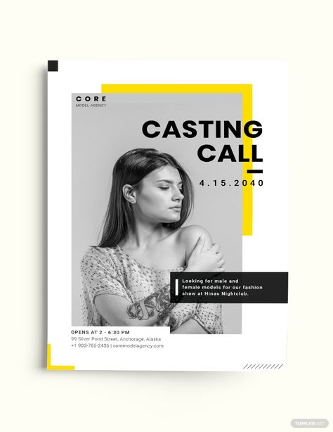 Professional Model Agency Flyer Template [Free JPG] - Illustrator, InDesign, Word, Apple Pages, PSD, Publisher | Template.net