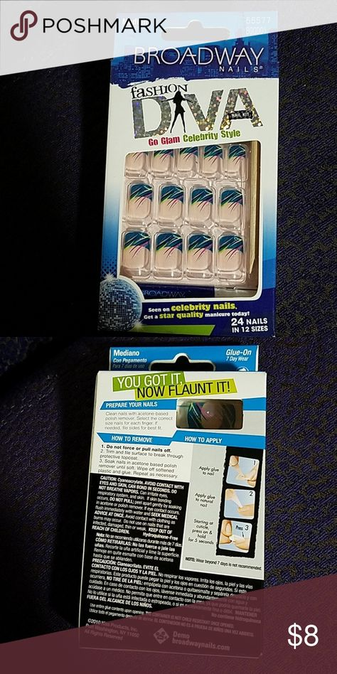 Broadway Diva Nails Brand new unopened kit includes nails.glue and instructions.