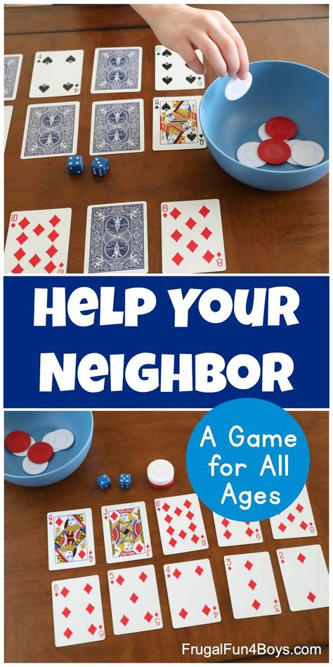 How to Play Help Your Neighbor - A Fun Family Card Game! This card and dice game is perfect for all ages. Great for family game night! family games with kids Math Card Games, Family Card Games, Card Games For Kids, Dice Games, Activity Games, Game Of Dice, Best Family Games, Kids Outside Games, School Games For Kids