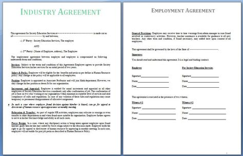 An Industrial Agreement is usually a settlement reached between - employment agreement sample