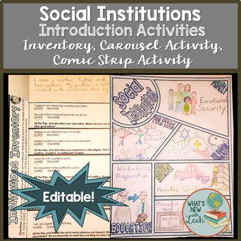 Sociology Introduction To Social Institutions Activity Social Institution Social Studies Activities Sociology