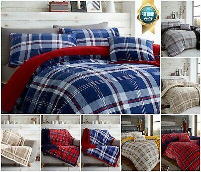 Luxury Teddy Super Soft Tartan Check Duvet Cover Set Warm Thermal Fleece Bedding Quilt Cover Sets Duvet Cover Sets Modern Bed Set