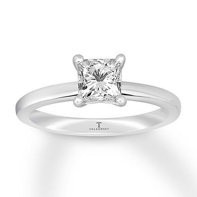 ed36aa2d8 Tolkowsky Diamond Solitaire Ring 1/2 ct Princess-cut 14K Gold ...