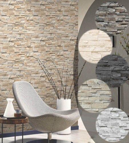 Tapete-Stein-Steinwand-Vlies-Mauer-Beige-Fototapete-Klinker-Wand-3D - wohnzimmer deko steinwand