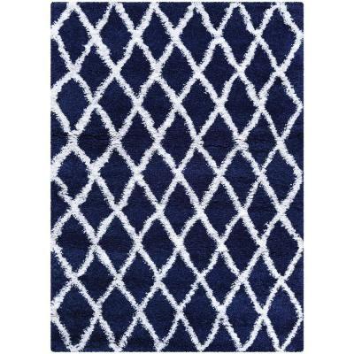 Couristan Urban Shag Temara Navy Blue White 8 Ft X 11 Ft Area Rug Blue And White Rug White Area Rug Area Rugs