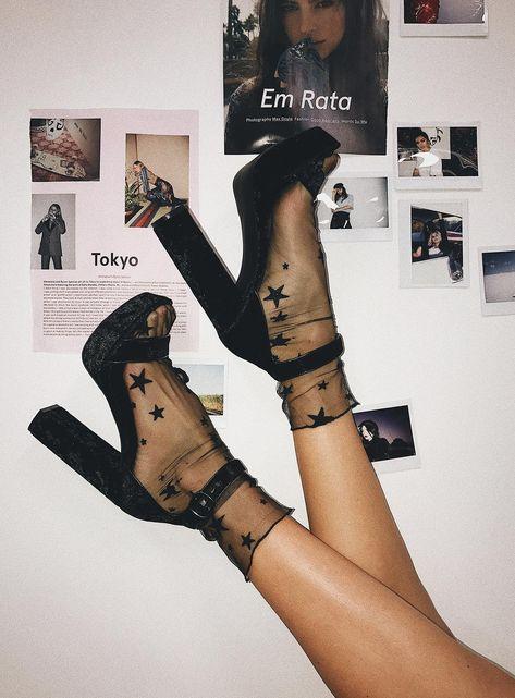 Milky Way Star Mesh Socks Black <br> Ankle sock Sheer mesh Slight stretch Loose fit Star detail throughout Synthetic Socks And Heels, Ankle Socks, Black Socks, Sheer Socks, Socks With Sandals, Fuzzy Heels, Men Sandals, Aesthetic Shoes, Aesthetic Clothes