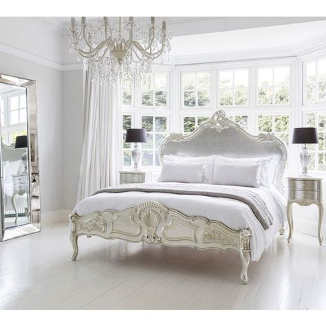 Sylvia Serenity Silver French Bed | Silver Bed;  the glorious Louis design, cabriole legs, French scroll carvings and detailing aplenty, all in a softly distressed silver leaf.