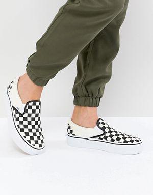 Vans Platform Slip On Trainers In Checkerboard in 2020 ...