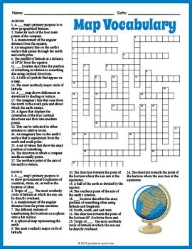 Map Vocabulary Crossword Puzzle Worksheet Social Studies Worksheets Vocabulary Basic Geography