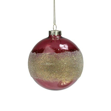 Glittered Gold And Pink Frosted Glass Christmas Ball Ornament 4 100mm Walmart Com Glitter Frosting Gold Glitter Christmas Christmas Ornaments