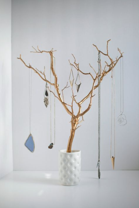 PRICE LOWERED: Jewelry Holder Tree Gold Organizer painted necklace hanger bedroom decor for her