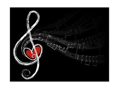 'Treble Love and Music Notes' Prints – fat_fa_tin | AllPosters.com