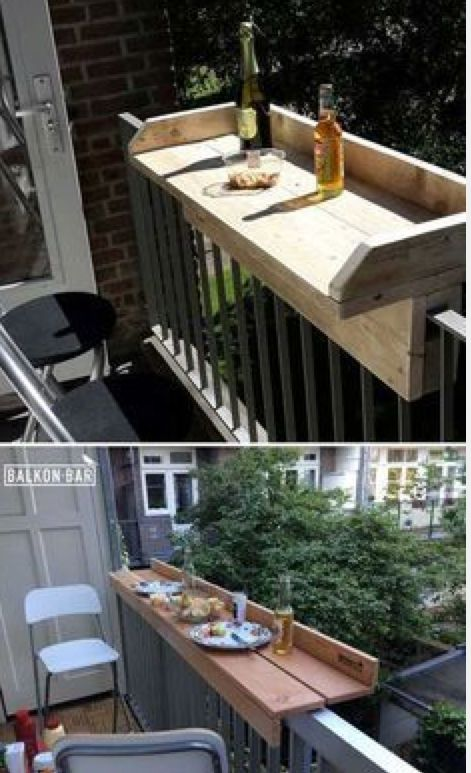 Diy Bar Table To Slide Over Apartment Rail Love Diy Outdoor Furniture Diy Outdoor Small Outdoor Spaces