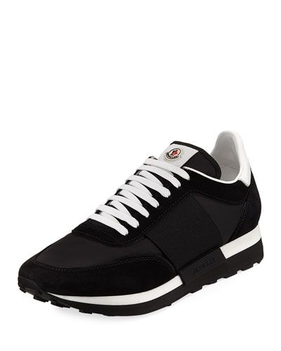 MONCLER HORACE SUEDE & NYLON TRAINER SNEAKER, BLACK. #moncler #shoes #