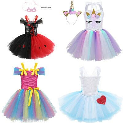 Kids Girls Tutu Party Dress Up Cosplay Outfits Costume Princess Cartoon Dresses